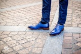 Chaussure Consul en cuir bleu patine Richelieu