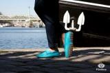 Mocassin Gino Veau Velours Bleu Turquoise