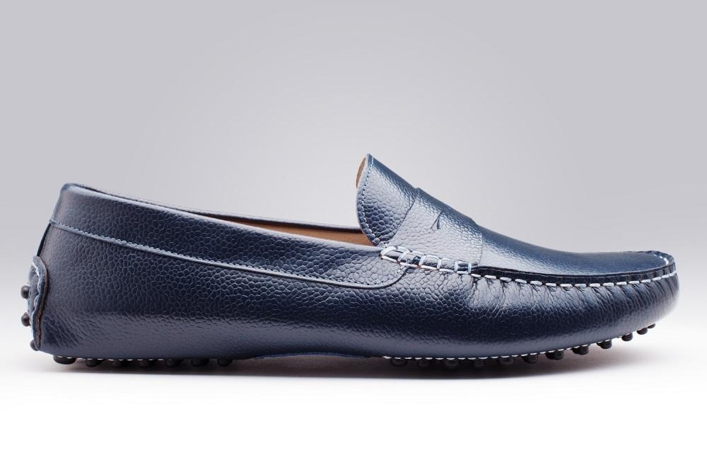 32673d70d62 Riviera Blue Pebble-Grain Men s Loafers - Finsbury Shoes