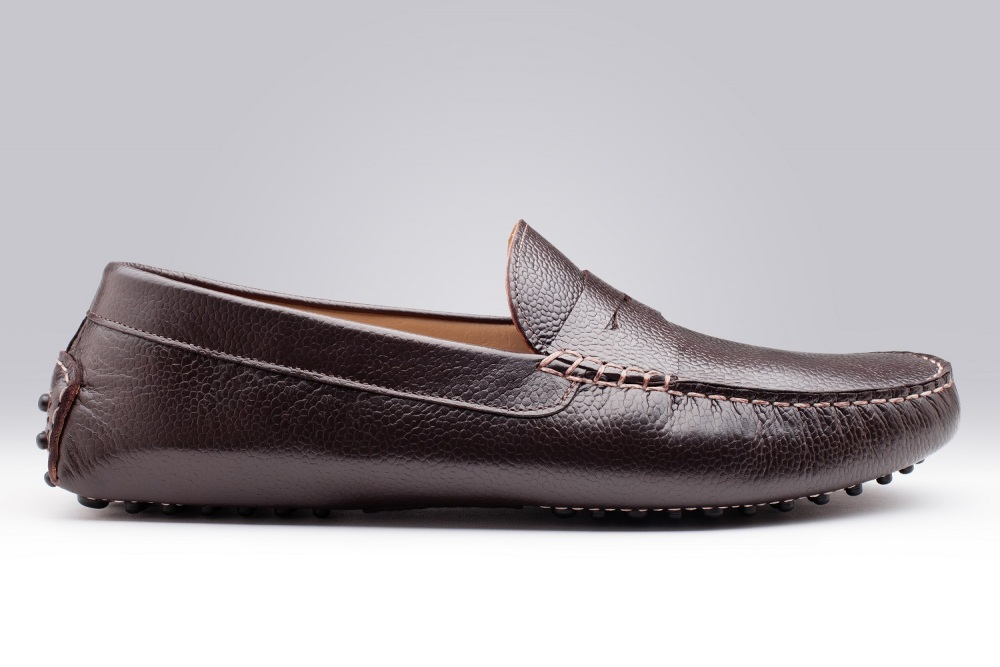 Riviera Dark Brown Pebble-Grain Men's Loafers