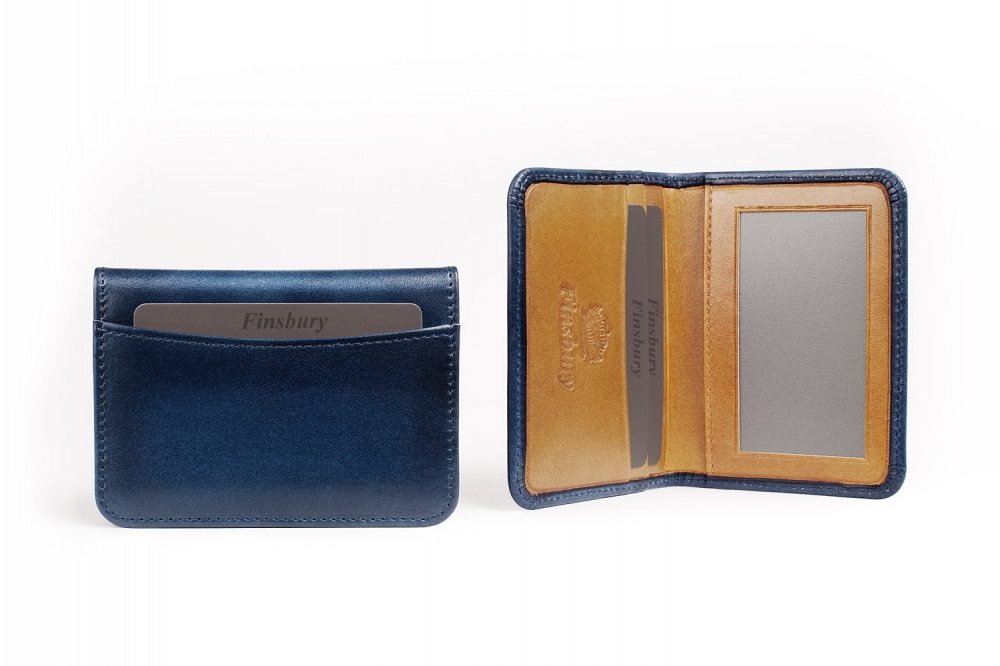 Leather Card Holder Blue Patina