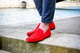 Mocassin Dandy Veau Velours Rouge