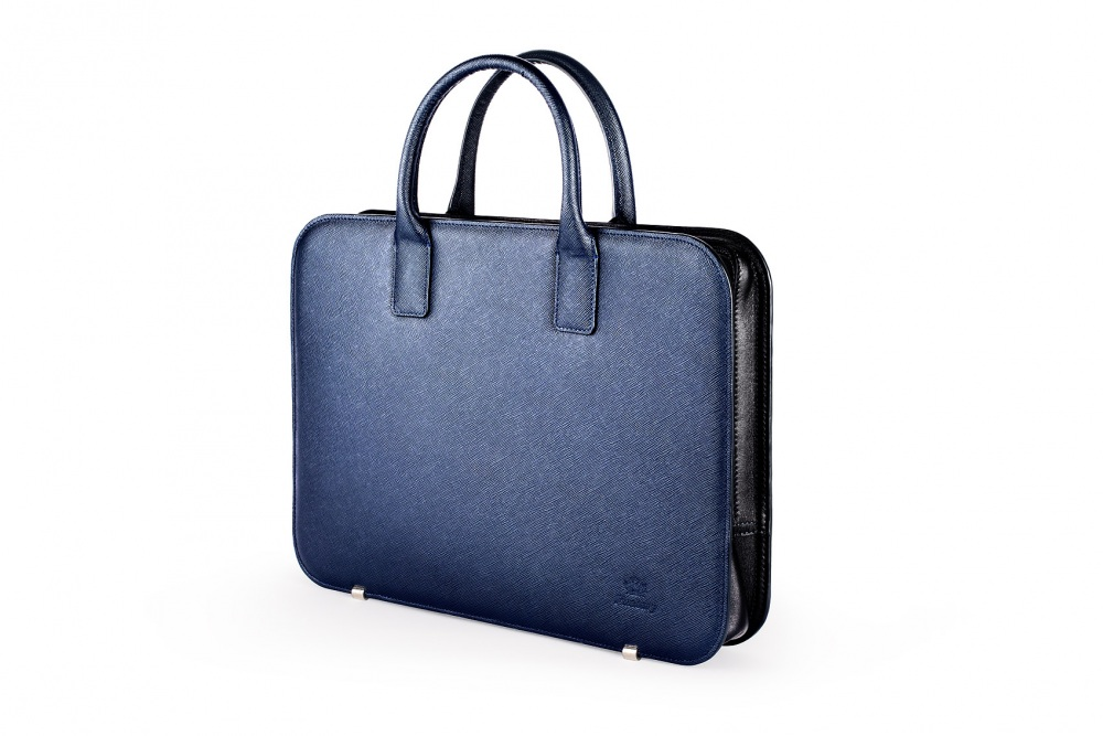 Porte document cuir saffiano bleu