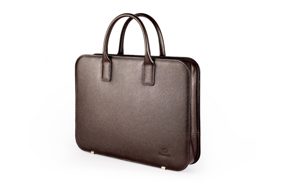 Porte document cuir saffiano marron