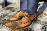 Chaussures/souliers Richelieu AUGUSTINO Marron Patiné - Finsbury Shoes