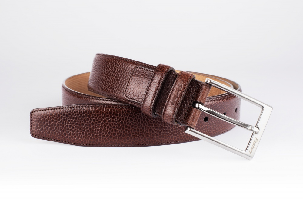 Pebble-Grain Brown Leather Belt