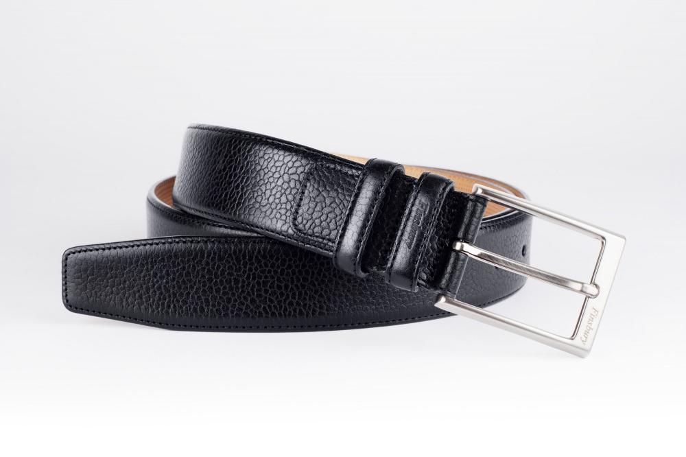 Pebble-Grain Black Leather Belt