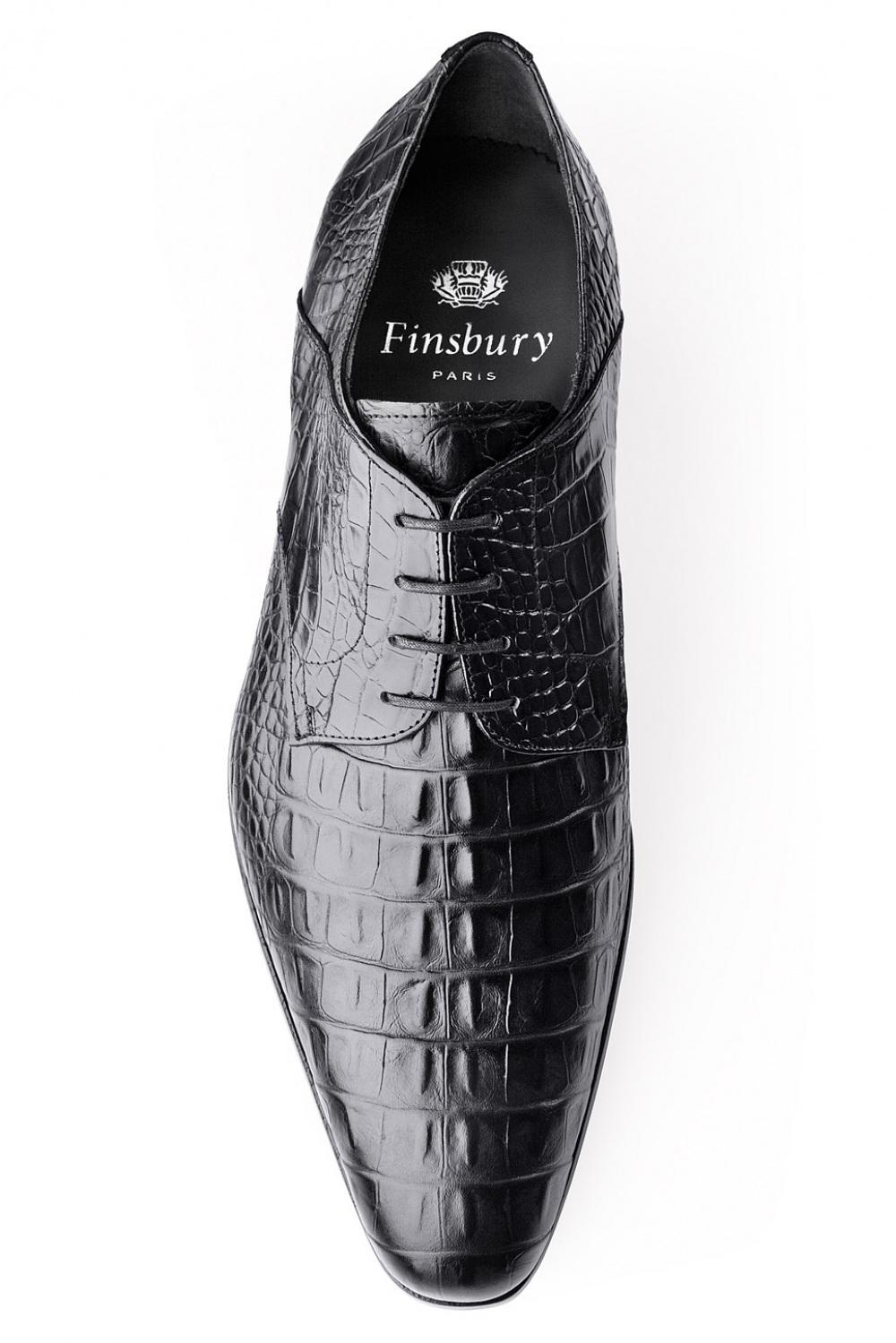 magasin en ligne 57a29 06977 Chaussure Amalfi Croco Noir latina derby pour homme en cuir