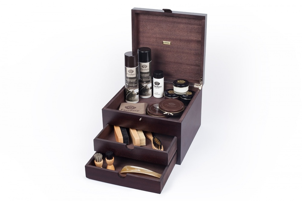Wooden Shoe Care Case